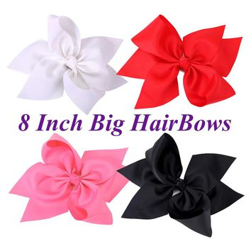 1Pc 8 Inch Boutique Six Petals Ribbon Bow With Alligator Clip Girls Hairpin Big Bowknot Hair Clips Kid Children Hair Accessories