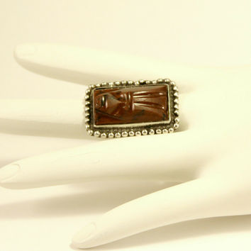 MEXICO Hecho En Carved Jasper Tribal Aztec Mask Sterling Silver 925 Ring sz 5.5