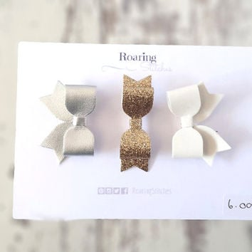 Mini hair bow clips - silver and white leather french bows and a gold glitter bow tie hair clips