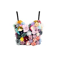 Insta Story Multicolor Floral Pattern 3D Embroidered Flowers Sleeveless Spaghetti Strap Crop Top