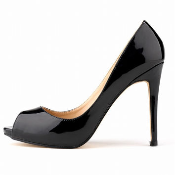 High quality summer sping new sexy fashion peep toe office patent leather sandals all-match pumps women thin high heels shoes