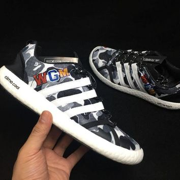 HCXX A309 Adidas Clima Cool Boat Lace Graphic WGM Boost Breathable Running Shoes Grey White