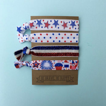 4th of July, America Fold Over Elastic (FOE) Hair Tie With Quote On It - Perfect For Party Favors, Stocking Stuffers, Working Out, Or Casual