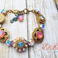 Coral Sea, Swarovski Flower Bracelet, Antique Matte Gold, AB, Adjustable, Beach, Bridal, DKSJewelrydesigns, FREE SHIPPING