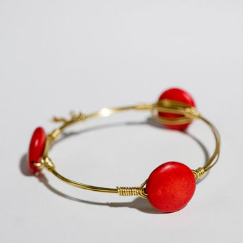 Ships Free Red Flat Round Stone Wire-Wrapped Gold Bracelet (Inspired by the popular Bourbon and Bowties) - great gift for bridesmaids
