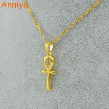 ONETOW Anniyo Egyptian Ankh Cross Pendant Necklace Chain Woman,Gold Color Charms Jewelry Girls Egypt Hieroglyphs,Crux Ansata #057006