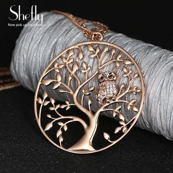 Owl Pendant Necklace Women 2018 Fashion Tree of life Jewelry Multilayer Chain Crystal Long Necklaces & Pendants Dropshipping