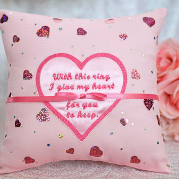 Valentine's Day I Give My Heart For You To Keep, Pink Shiny Glitter Metallic Hearts Satin Ring Bearer Pillow