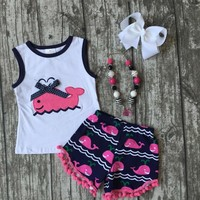 baby Girls Summer clothes girls whale outfits baby girls hot pink whale shorts Cute Whale Print Girl Clothes with accessories