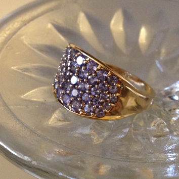 Lavender Tanzanite Cluster Ring 14kt Yellow Gold 1.25 c.t.w. Vintage Estate Circa 1990s Fancy Color Tanzanite