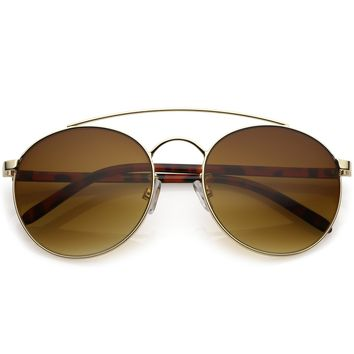 Modern Round Aviator Sunglasses Thick Arms Curved Double Crossbar 56mm