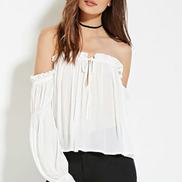 Contemporary Off-the-Shoulder Chiffon Top