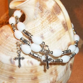 Wedding Cross White Vintage Milk Glass & Silver Beaded Hand Crafted Wrap Bracelet