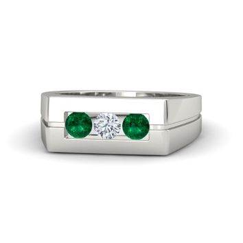 Men's Round Emerald Platinum Ring with Diamond | Clutch Ring | Gemvara