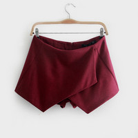 Asymmetrical Woolen Mini Skirt Shorts