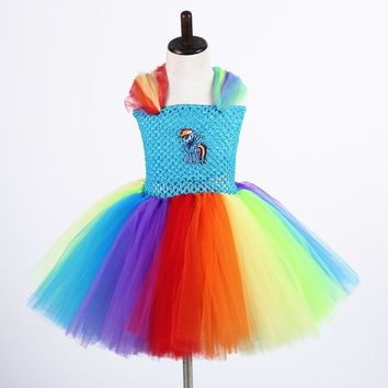 Girls Pageant Festival Tutu Dress Cartoon Little Pony Designs Lolita Kids Rainbow Dash Fluffy Dress For Baby Girls Costume
