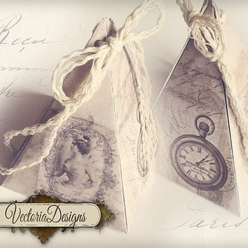INSTANT DOWNLOAD Shabby chic pyramid box vintage printable images digital collage sheet 395