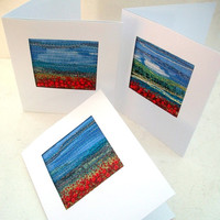 Handmade fibre art card - Embroidered poppy field - Beaded card