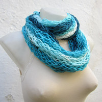 Finger Knitting Scarf Blue Turquoise White Necklace Long
