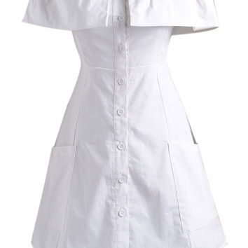 White Off Shoulder Ruffle Detail Button Up Dress