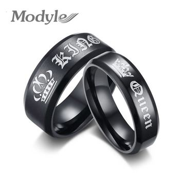 Modyle 2018 New Fashion Engagement Ring Black King and Queen Couple Wedding Bands Promise Ring for Men and Women
