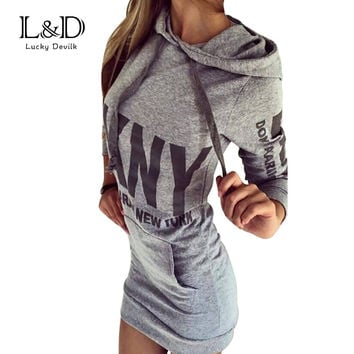 2016 Party Vintage Winter Fall Dressed Women Dress Office Plus Size Women Clothing Sweatshirt