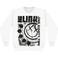 Blink 182 Men's  Spelled Out Sweatshirt White