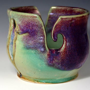Unique Green and Purple  Pottery Yarn Bowl  with figures. Purple and  Green Pottery Knitting Bowl- Ready to Ship - Purple and green Glaze
