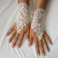 Ivory sequined lace wedding gloves, bridal gloves, bridal party, ceremony, prom, celebration