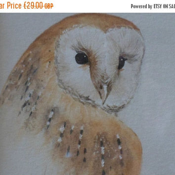 REDUCED Owl painting : Original Water colour of a Barn Owl by professional devon-based artist Ian Hudson. Owls in watercolour