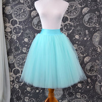 Aqua Blue Tulle Skirt - Adult Knee Length Tutu with Stretch Lycra Wastband - Custom Size - Made to Order