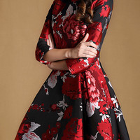 Black Floral Print Long Sleeve Skater Dress