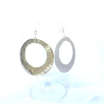 Oversized circle earrings, hammered extra large hoops, modern tribal earrings