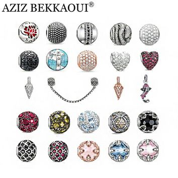 Top quality silver plated Diy crystal beads fashion charms fit for pandora bangle neck