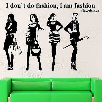Wall Stickers Vinyl Decal Quote I Don`t Do Fashion Coco Chanel Decor  Unique Gift (z2224)