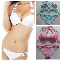 2015 halter top 2Pcs New hot swim bikinis set Bandeau Top+Bottom Push Up Sexy women Bikini Swimwear Beachwear swimsuit S/M/L/XL = 1955951108