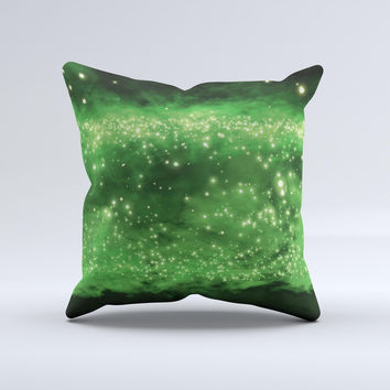 Glowing Lime Green Orbs of Light  Ink-Fuzed Decorative Throw Pillow