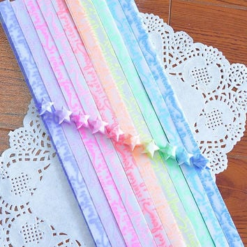 Origami Folding Star Paper / Glow in Dark Paper /Lucky Star Assorted / Favour Strips 2 Colors Mixed / Love Letter 60 Stripes