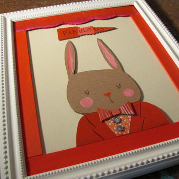 Mixed Media Bunny Rabbit Dapper Woodland Animal Red Circus Theme Whimsical Nursery Art Cute Painting for Kids