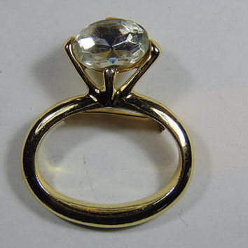 Smaller Diamond Gold Tone Ring Brooch Vintage Costume Jewelry
