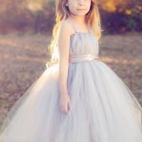 New tutu tulle gray baby bridesmaid flower girl wedding dress fluffy ball gown USA birthday evening prom cloth party dress