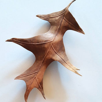 Wood Sculpture, The Peaceful Pin Oak made of Cherry Wood, Leaf Sculpture, Wall Art, Wooden Leaves, Wedding Gift, Anniversary Gift, Wood Art