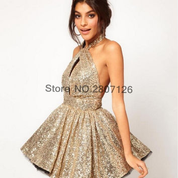 Sexy 2017 Cocktail Dresses Sequined Ball Gowns Short Wedding Party Dress Bride Gowns Robe De Cocktail