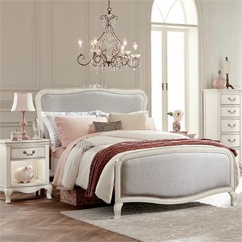 Antique White Katherine Upholstered Bed
