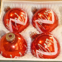 Christmas Ornaments Red Glass White Glitter J C Penneys West German