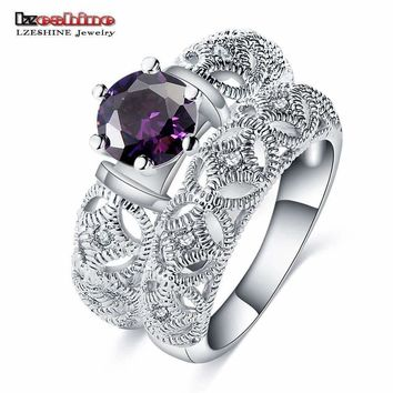 LZESHINE Wedding Filigree Ring 2pcs Set  0.75 ct AAA Grade Round  AAA Zirconia Fine Carving Craft Christmas Gift Ring CRI0485