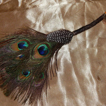 Feather Besom Broom or Smudge Wand - Peacock & Guinea Feathers w/ Genuine Garnet - Wiccan Besom - Occult Altar Tools - Decorative Broom