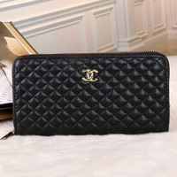 CHANEL Women Fashion Leather Zipper Wallet Purse