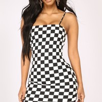 Finish First Checkered Dress - Black/White