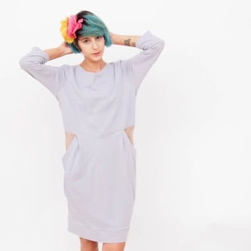 Sexy Open Back Tricot Cotton Dress w/ Bow Tie a/ Pockets - Hand Dyed! Casual Cocktail Dress w/ Sculpted Shape a/ Over the Knee Length
